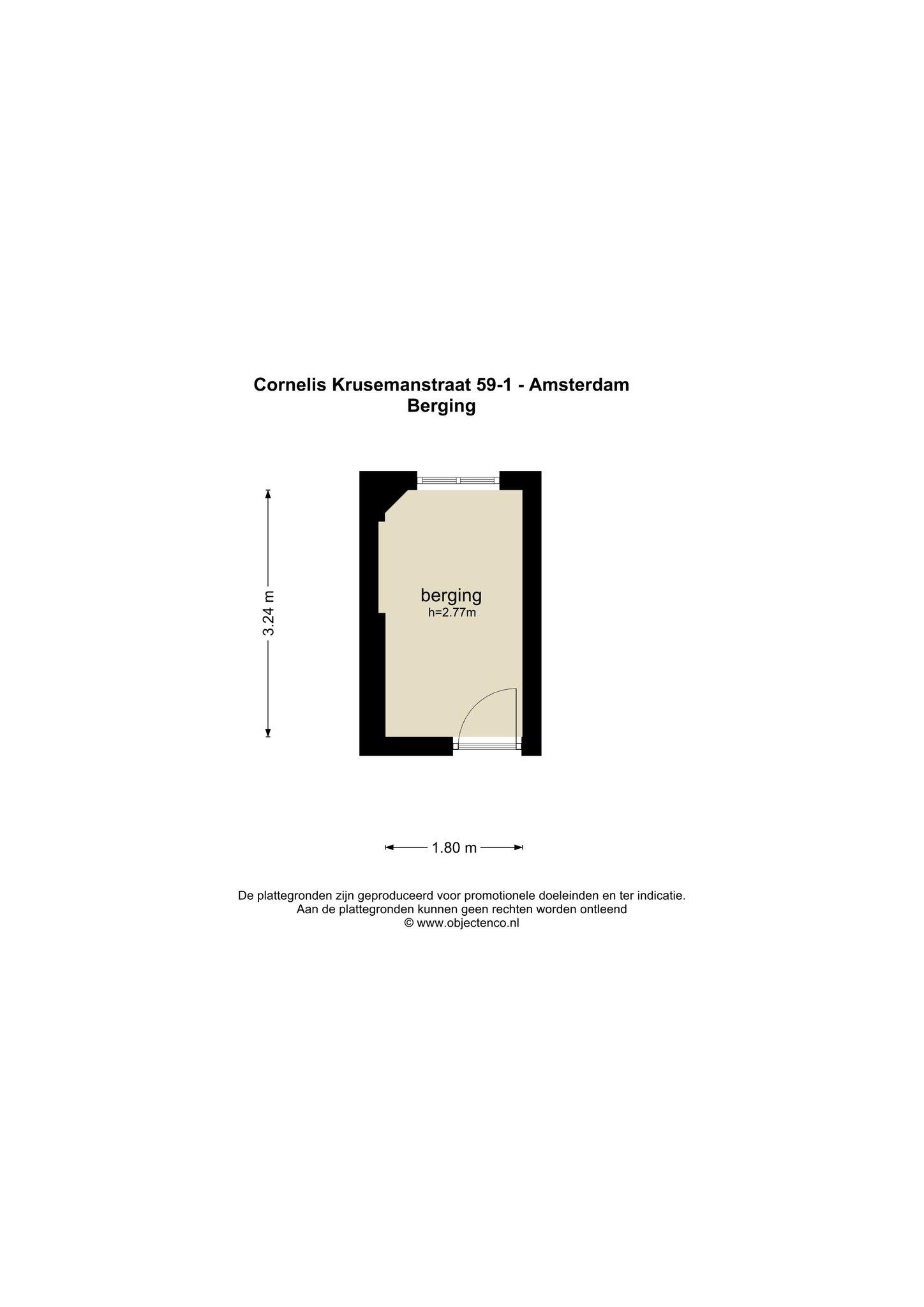 Amsterdam – Cornelis Krusemanstraat 59-1 – Plattegrond 3